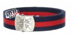 Military Style Webbing Belt and buckle Navy/Red